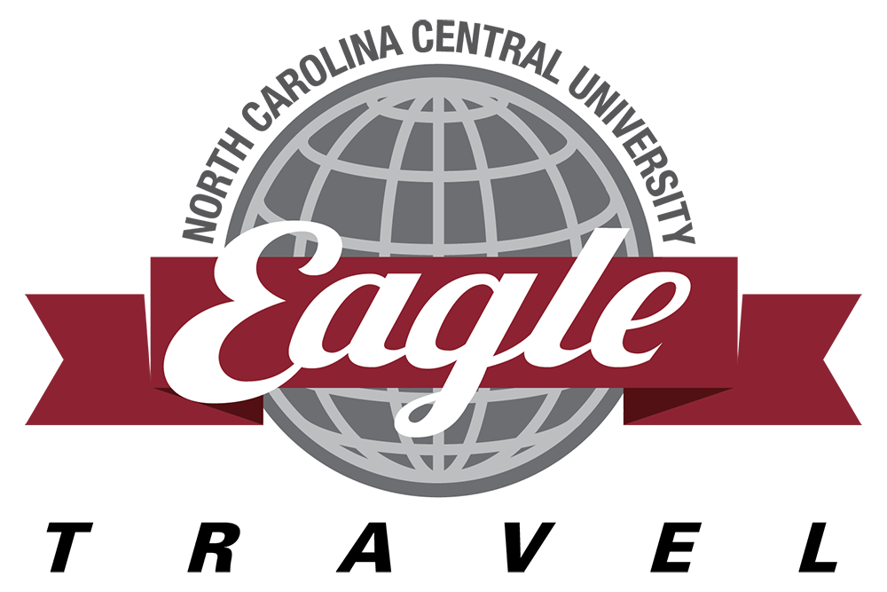 North Carolina Central University Eagle Travel with world logo in background.