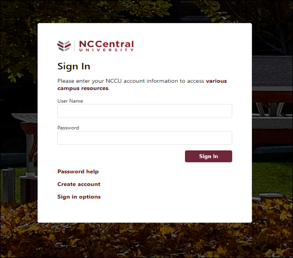 NCCU single sign on screen