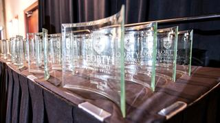 acrylic awards on a table