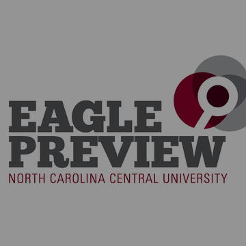 Eagle Preview North Carolina Central University and Logo with magnifying glass.